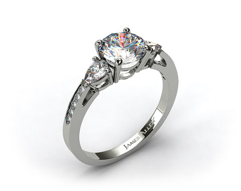 18k White Gold Three Stone Pear and Pave Set Diamond Engagement Ring